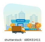 exterior of autumn post office  ... | Shutterstock .eps vector #680431411