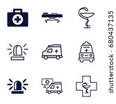ambulance icons set. set of 9... | Shutterstock .eps vector #680437135