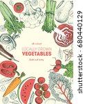 vegetables top view frame.... | Shutterstock .eps vector #680440129