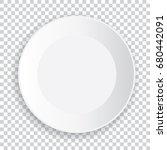 realistic big white plate with... | Shutterstock .eps vector #680442091