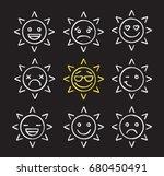sun smiles chalk icons set. bad ...   Shutterstock .eps vector #680450491