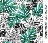 monstera leaves seamless...   Shutterstock . vector #680459569