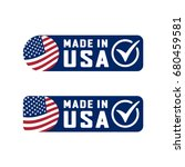 made in usa sign with check... | Shutterstock .eps vector #680459581