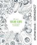 vegetables top view frame.... | Shutterstock .eps vector #680460427