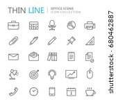 collection of office thin line... | Shutterstock .eps vector #680462887