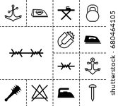 iron icon. set of 13 filled and ... | Shutterstock .eps vector #680464105