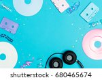music flat lay objects with... | Shutterstock . vector #680465674