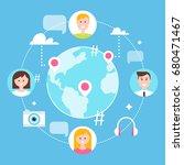 social network  followers and... | Shutterstock .eps vector #680471467