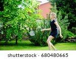 active school girl playing... | Shutterstock . vector #680480665