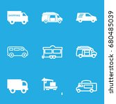 van icons set. set of 9 van... | Shutterstock .eps vector #680485039