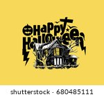 scary farmhouse hand drawn...   Shutterstock .eps vector #680485111