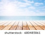 empty wooden table with party... | Shutterstock . vector #680485861
