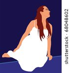 woman in white sitting on the... | Shutterstock . vector #68048602