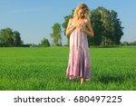 joyful carefree woman  topless...   Shutterstock . vector #680497225