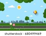 empty park vector illustration | Shutterstock .eps vector #680499469