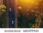 aerial view of cars on the road ... | Shutterstock . vector #680499964