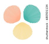 set of colorful shells in flat... | Shutterstock .eps vector #680501134