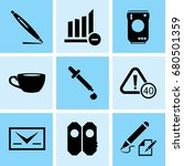 set of 9 mixed icons such as... | Shutterstock .eps vector #680501359