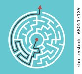 circular maze with way from... | Shutterstock . vector #680517139