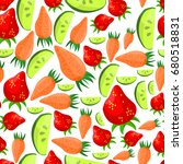 vegetables seamless pattern ... | Shutterstock . vector #680518831