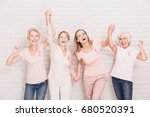 group of smiling ladies with... | Shutterstock . vector #680520391