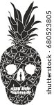 pineapple skull graphic design... | Shutterstock .eps vector #680523805