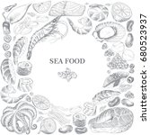 banner with hand drawn sea food ... | Shutterstock .eps vector #680523937