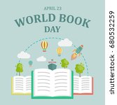 world book day  23 april. open... | Shutterstock .eps vector #680532259