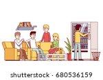 office workers spending lunch... | Shutterstock .eps vector #680536159