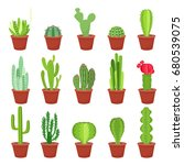 cactus icons  isolated on white ... | Shutterstock .eps vector #680539075