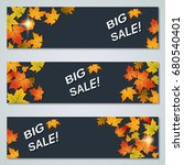autumn big sale banner  coupon  ... | Shutterstock .eps vector #680540401