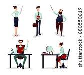 teachers set. group of talking... | Shutterstock .eps vector #680550619
