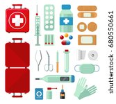 first aid kit. set with medical ... | Shutterstock .eps vector #680550661