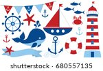 vector nautical set with... | Shutterstock .eps vector #680557135