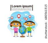 small kids holding globe over... | Shutterstock .eps vector #680561515