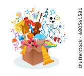 kids hobbies art classes logo... | Shutterstock .eps vector #680561581