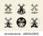 windmill  mill logo or label.... | Shutterstock .eps vector #680562805