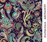 colorful paisley pattern.... | Shutterstock .eps vector #680563459