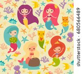 mermaids girls pattern. cute... | Shutterstock . vector #680566489