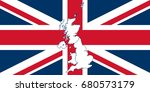 flag and map of united kingdom | Shutterstock .eps vector #680573179
