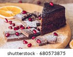 chocolate torg with dark... | Shutterstock . vector #680573875