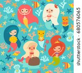 mermaids girls pattern. cute... | Shutterstock . vector #680576065