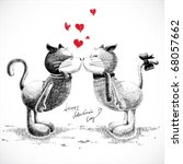 hand drawn cats in love ... | Shutterstock .eps vector #68057662