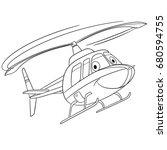 coloring page of helicopter.... | Shutterstock .eps vector #680594755