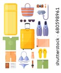 objects for traveling. summer... | Shutterstock .eps vector #680598961