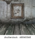 Vintage Old room, grunge industrial interior, and frames - stock photo