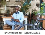 stylish young african man... | Shutterstock . vector #680606311