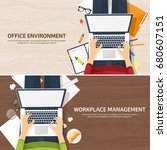 workplace with table and... | Shutterstock .eps vector #680607151