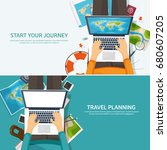 travel and tourism. flat style. ... | Shutterstock .eps vector #680607205