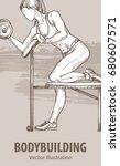 hand sketch of a girl is...   Shutterstock .eps vector #680607571